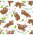 sloth seamless pattern relaxing sloths on jungle vector image