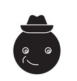 smiling emoji with hat emoji black concept vector image vector image
