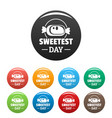 sweet candy icons set color vector image
