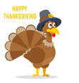 thanksgiving turkey in pilgrim hat flat design vector image vector image