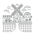 thin outline line design farm logo template vector image vector image