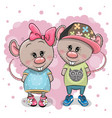 two cartoon rats on a heart background vector image vector image