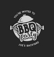 vintage hand drawn bbq party barbecue grill badge vector image vector image