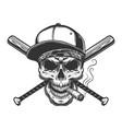 vintage monochrome skull in baseball cap vector image vector image