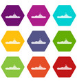 warship icon set color hexahedron vector image vector image