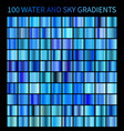 water and sky blue gradients big set collection vector image
