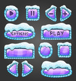 Winter cartoon lilac buttons with snow vector image vector image