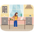 young woman cooking salad in kitchen household vector image vector image