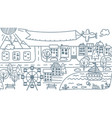 doodle city map cartoon city isolated vector image