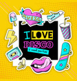 fashion patch cool disco composition poster vector image