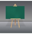Wooden tripod with a green chalkboard vector image