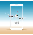 airplane on mobile phone vector image vector image