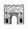 arch gates in fortress wall castle doorway retro vector image vector image