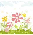 Background of spring flowers with leafs vector image vector image