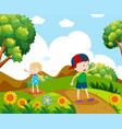 boy and girl hiking on the hill vector image vector image