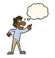 cartoon man pointing and laughing with thought vector image vector image