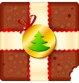 Christmas chocolate box with badge and ribbon vector image vector image