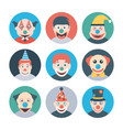 clown characters flat icons vector image