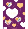 colorful oriental flowers heart symbol vector image