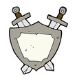 comic cartoon shield and swords vector image vector image
