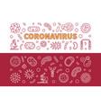 coronavirus outline two horizontal banners vector image