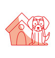 cute dog mascot with house vector image vector image
