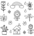 Doodle of item spring hand draw vector image vector image