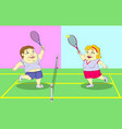 fat people playing tennis on the court vector image vector image
