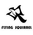 flying squirrel logo black eps 10 vector image vector image