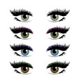 four pairs womans eyes eyelashes and eyebrows vector image