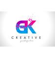 gk g k letter logo with shattered broken blue vector image vector image
