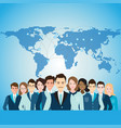 global business people with world map vector image vector image