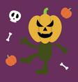 halloween monster set of icons pumpkin ghost vector image