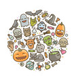 halloween of icons holiday symbol cartoon vector image vector image