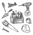 Hand drawn Set of Construction tools vector image vector image