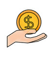 hand holding dollar money cash safety business vector image vector image