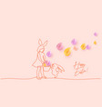 happy easter girl with rabbit ears and basket vector image vector image