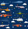 helicopters seamless pattern air transportation vector image vector image