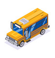 isometric 3d retro lowpoly flat design school buss vector image