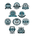 Marine and nautical heraldic emblems or icons vector image vector image