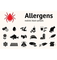 Medical allergy icon set Food and common