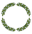 olive branches forming circle in green color vector image vector image