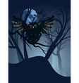 Owl in the Night Forest3 vector image