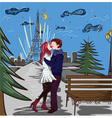 paris doodles with lovers vector image vector image