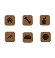 Pets wooden icons set vector image