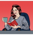 Pop Art Woman Reading Book and Drinking Coffee vector image vector image