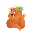 pretty lady waving bear with flowers for kids vector image vector image