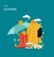 rainy autumn flat style design vector image vector image