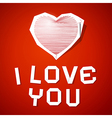 Red String Heart with Needle and I Love You Title vector image vector image