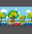 scene with children in playground and cars on the vector image vector image